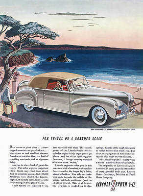 Digital Art - 1940 Lincoln Zephyr Vintage Ad by Walter Colvin