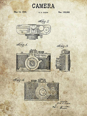 Vintage Camera Drawing - 1940 Photographic Camera Patent by Dan Sproul