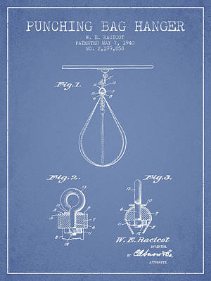 Striking Bag Digital Art - 1940 Punching Bag Hanger Patent Spbx13_lb by Aged Pixel