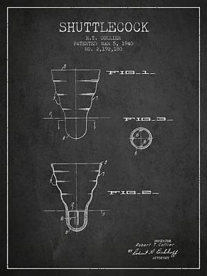 Badminton Digital Art - 1940 Shuttelcock Patent Spbm02_cg by Aged Pixel