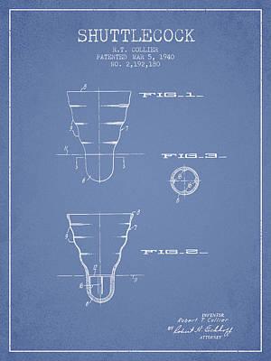 Badminton Digital Art - 1940 Shuttelcock Patent Spbm02_lb by Aged Pixel