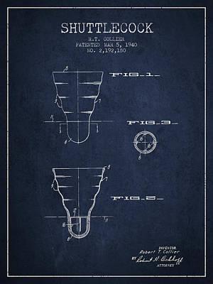 Badminton Digital Art - 1940 Shuttelcock Patent Spbm02_nb by Aged Pixel