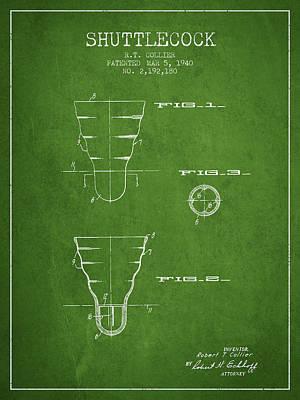 Badminton Digital Art - 1940 Shuttelcock Patent Spbm02_pg by Aged Pixel