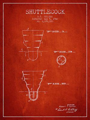 Badminton Digital Art - 1940 Shuttelcock Patent Spbm02_vr by Aged Pixel