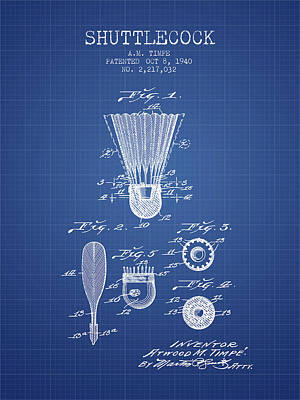 Badminton Digital Art - 1940 Shuttelcock Patent Spbm03_bp by Aged Pixel