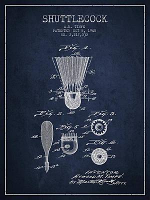 Badminton Digital Art - 1940 Shuttelcock Patent Spbm03_nb by Aged Pixel
