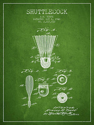 Badminton Digital Art - 1940 Shuttelcock Patent Spbm03_pg by Aged Pixel