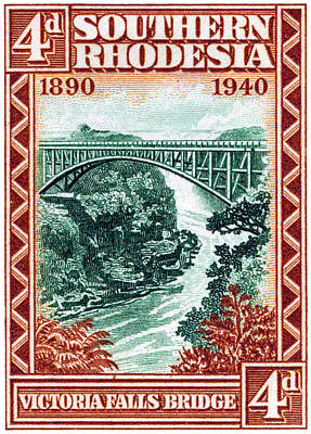 Painting - 1940 Southern Rhodesia Victoria Falls Bridge  by Historic Image