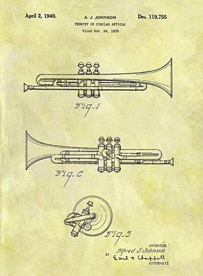 Musicians Drawings - 1940 Trumpet Patent by Dan Sproul