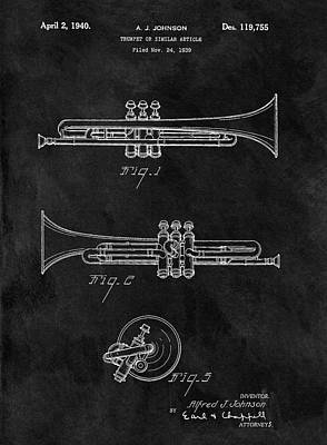 Trumpet Drawing - 1940 Trumpet Patent Illustration by Dan Sproul