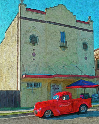 Bay St. Louis Ms Wall Art - Photograph - 1941 Willys Truck - Old Cinema Bay St. Louis Ms by Rebecca Korpita