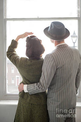 1940s Couple At The Window Art Print by Lee Avison