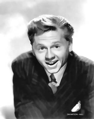 Digital Art - 1940's Mickey Rooney - Black And White by Marlene Watson