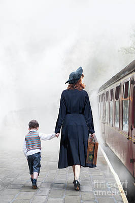 Photograph - 1940s Mother And Child On A Train Platform by Lee Avison