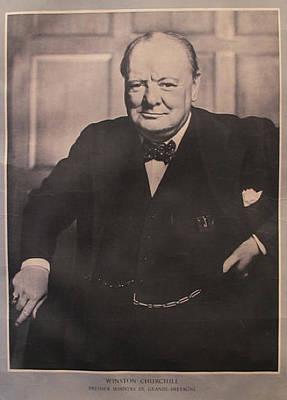 Wwii Propaganda Drawing - 1940s Original French Wwii Propaganda Poster, Winston Churchill by Anonymous