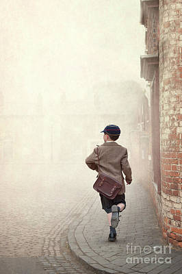 Photograph - 1940s Schoolboy Running Down A Terraced Street by Lee Avison