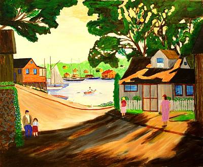 Bill Hubbard Acrylic Painting - 1940s Smith Cove From Rocky Neck Gloucester Ma by Bill Hubbard