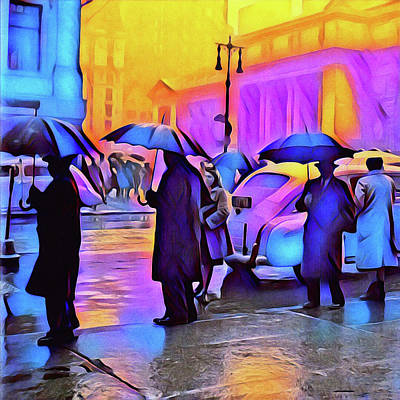 Mixed Media - 1940s Times Square Rain II by Susan Maxwell Schmidt