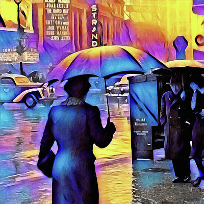 Photograph - 1940s Times Square Rain IIl by Susan Maxwell Schmidt