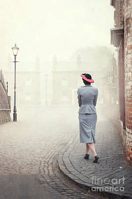 Photograph - 1940s Woman Walking On A Cobbled Street by Lee Avison