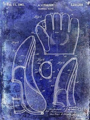 1941 Baseball Glove Patent Blue Art Print