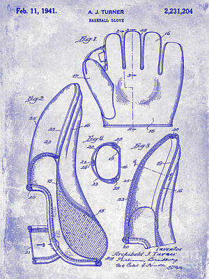 1941 Baseball Glove Patent Blueprint Art Print by Jon Neidert