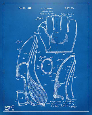 Historic Home Drawing - 1941 Baseball Glove Patent - Blueprint by Nikki Marie Smith