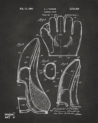 Historic Home Drawing - 1941 Baseball Glove Patent - Gray by Nikki Marie Smith