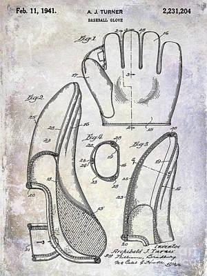 Antique Baseball Bat Photograph - 1941 Baseball Glove Patent by Jon Neidert