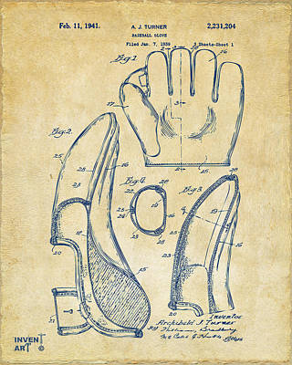 Baseball Glove Drawing - 1941 Baseball Glove Patent - Vintage by Nikki Marie Smith