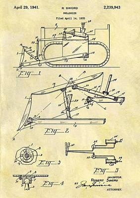 Tractor Drawing - 1941 Bulldozer Patent by Dan Sproul