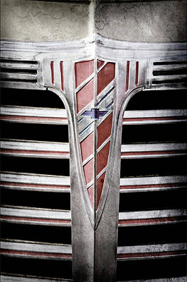 Art Print featuring the photograph 1941 Chevrolet Grille Emblem -0288ac by Jill Reger