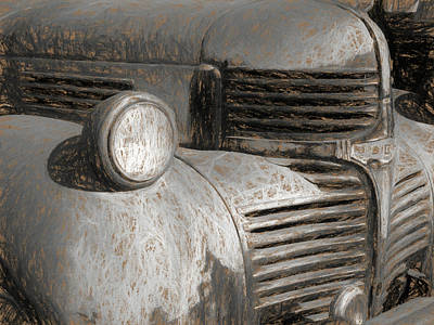 Digital Art - 1941 Dodge Truck Grill Sketchy by David King