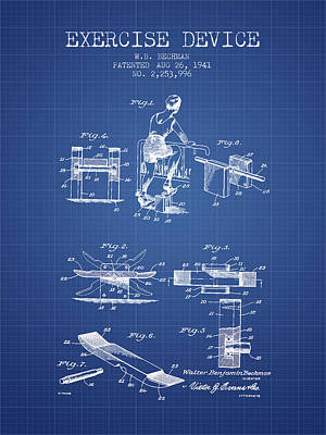 1941 Exercise Device Patent Spbb10_bp Art Print by Aged Pixel