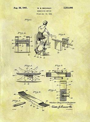 Muscle Mixed Media - 1941 Exercise Machine Patent by Dan Sproul