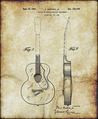 Digital Art - 1941 Gretsch Guitar Patent Drawing - Vintage by Doc Braham