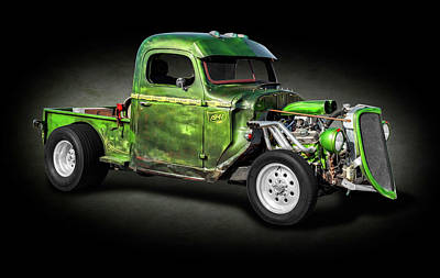 Photograph - 1941 International Pickup Truck Rat Rod  -  1941internationalratrodspttext184410 by Frank J Benz