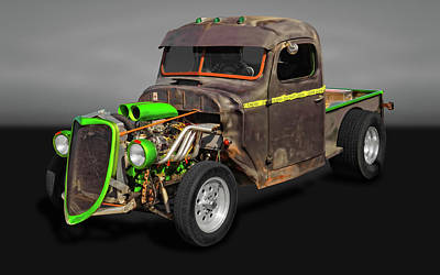 Photograph - 1941 International Pickup Truck Rat Rod  -  41intratgry9653 by Frank J Benz