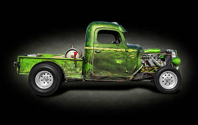 Photograph - 1941 International Pickup Truck Rat Rod  - 1941internationalratrodspttext184407 by Frank J Benz