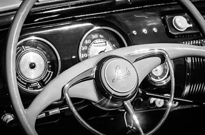 Art Print featuring the photograph 1941 Lincoln Continental Cabriolet V12 Steering Wheel -226bw by Jill Reger