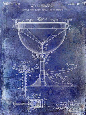 1941 Ludwig Drum Patent Blue Art Print by Jon Neidert