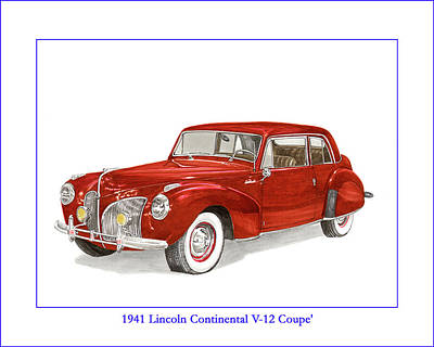 Painting - 1941 Mk I Lincoln Continental by Jack Pumphrey
