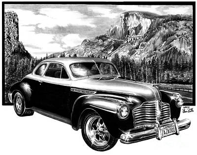 Yosemite National Park Drawing - 1941 Roadmaster - Half Dome by Peter Piatt