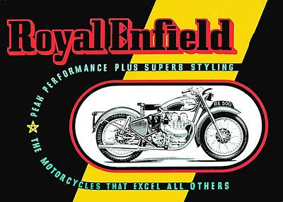 Drawing - 1941 Royal Enfield Motorcycle Ad by Allen Beilschmidt