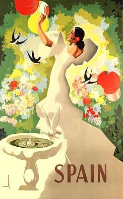 Flamenco Digital Art -  1941 Spain Flamenco Dancer Travel Poster by Retro Graphics
