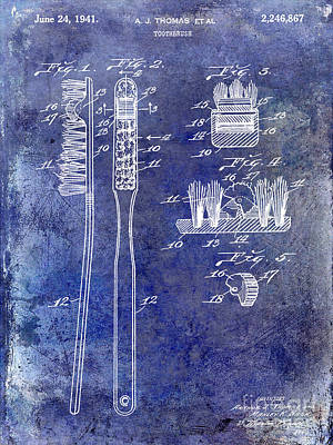 Dentist Photograph - 1941 Toothbrush Patent Blue by Jon Neidert