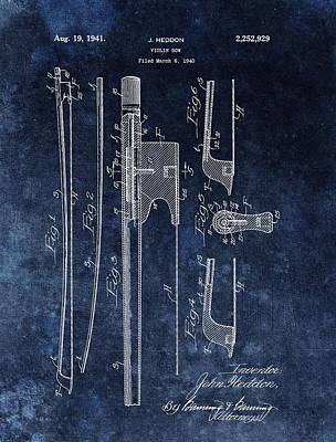 Musicians Drawings - 1941 Violin Bow Patent by Dan Sproul