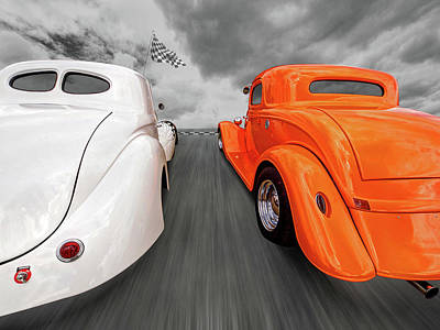 Photograph - 1941 Willys Vs 1934 Ford Coupe by Gill Billington