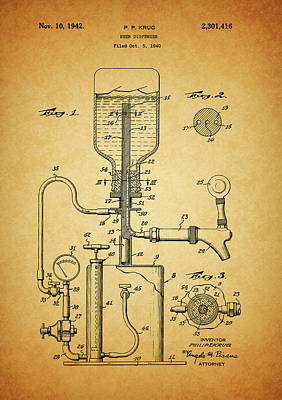 Drawing - 1942 Beer Dispenser Patent by Dan Sproul