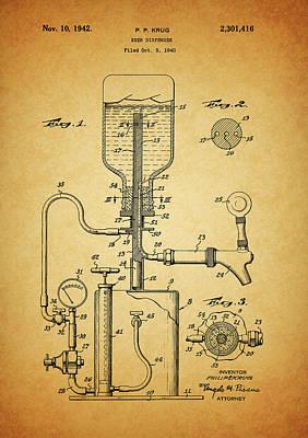 Beer Drawings - 1942 Beer Dispenser Patent by Dan Sproul